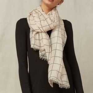 Rachel Pally Cream Black Windowpane Scarf